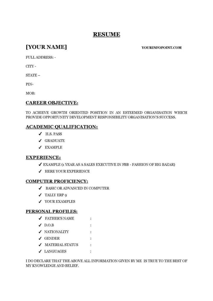 Resume in words format